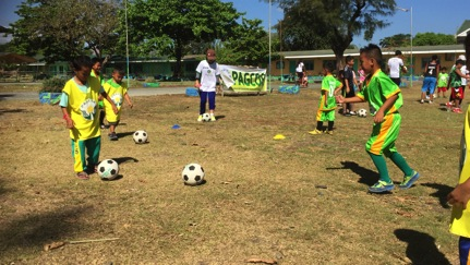 Kids doing football drills during the GCF in Mangatarem, Pangasinan
