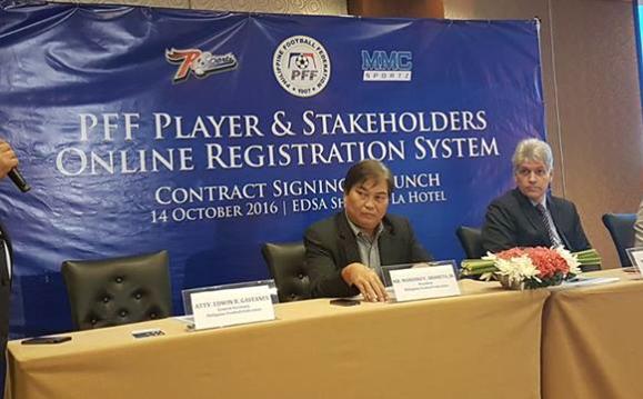 Left to Right: PFF General Secretary Edwin Gastanes, PFF President Mariano Araneta, MMC Sportz Marketing LLC CEO Eric Gottschalk and RSportz Inc. CEO Robin Kent